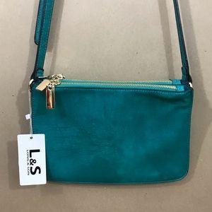 L&S Long & Son crossbody bag turquoise zippered